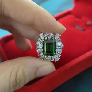 3.50Ct Emerald Cut Green Emerald Halo Engagement Ring 14K White Gold Finish