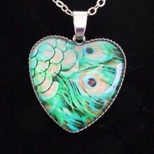 Peacock feathers heart pendant necklace - with chain and jewelry bag