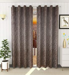 Velvet Room Darkening Curtains For Multi Size A Pack Of 1 In Brown Color