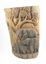 Famille d'Eléphants dans la forêt sur Souche de Teck - 47 cm