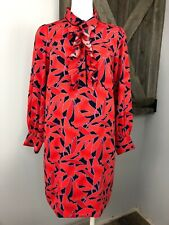 Ann Taylor Womens SP Red Floral Ruffled Long Puffed Sleeve Shift Dress B