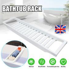 Bamboo Wood Bath Tub Rack Bathroom Shelf Tidy Tray Storage Caddy Organiser White