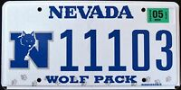 """NEVADA """" WOLF PACK - NFL - DISCONTINUED """" NV University Specialty License Plate"""