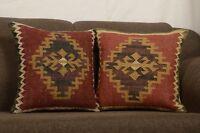 Set Of 2 Indian Kilim Rug Cushion Handwoven Jute Moroccan Cushions Cover  8311