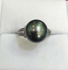 Pre Owned 18k Solid White Gold Natural South Sea Pearl(Tahiti )Ring with Diamond