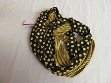 """Tickled Pink"" Black and Gold Infinity Scarf; Polka Dot and Stripe Pattern"