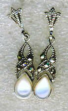 Butterfly Marcasite Drop/Dangle Fine Gemstone Earrings
