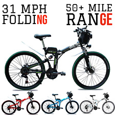 1000W 48V FOLDING E-Mountain Bike 31 MPH 50+ Mile 26 inch Electric EBike E-Bike