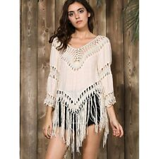 GEORGEOUS! Boho Hippie Chic Crochet FRINGE Tunic Top TAN BEIGE XS-M/L One Size