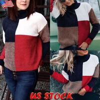 Womens Color Block Turtleneck Sweater Casual Long Sleeve Knit Tops Jumper Blouse