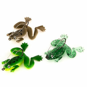 3pcs Top Water Surface Frog Lures Soft Lure Weedless for Bass Pike snakehead