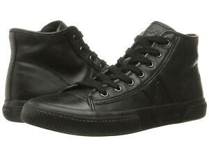 Polo Ralph Lauren Black Nappa Leather Tremayne Hi Top Fashion Sneakers 10.5 New
