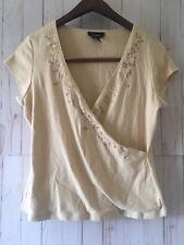 Express Women's Short Sleeve Beige Embroidered V-Neck T-Shirt Size XL