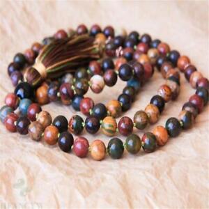 6mm Natural Picasso Gemstone 108 Beads Tassels Mala Necklace Buddhism Handmade