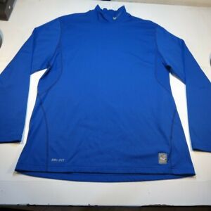 NIKE PRO COMBAT DRI FIT FITTED LONG SLEEVE TEE T SHIRT Mens XL Blue