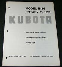 Kubota B36 Rotary Tiller Operators Operation Parts Manual Book Catalog List Oem