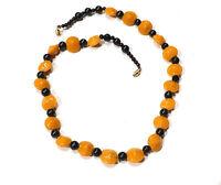 Bijou collier perles en céramique vintage  fermoir en alliage doré necklace