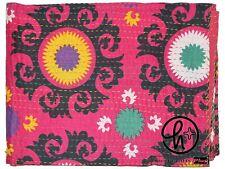 Pink Indian Cotton Handmade Suzani Kantha Quilt Twin & King Size Bedding Blanket
