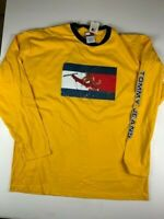 TOMMY JEANS HILFIGER Long Sleeve Pullover T Shirt Size XL Yellow 100% Cotton