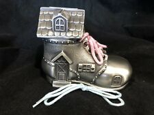 Pewter Shoe Money Box Birth Baby Shower Gift Christening Birthday Old Lady Boot