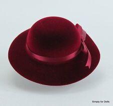 "**SALE** BURGUNDY Velvet Brimmed DOLL HAT w/ Ribbon fits 18"" AMERICAN GIRL Doll"