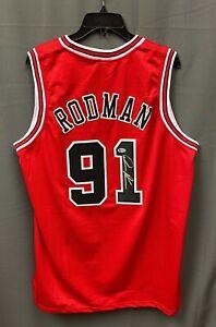 Dennis Rodman #91 Signed Chicago Bulls Jersey Autographed Sz XL BAS WITNESSED