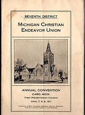 Michigan Christian Endeavor Union Lot of 8 Youth Convention Programs 1911 - 1917