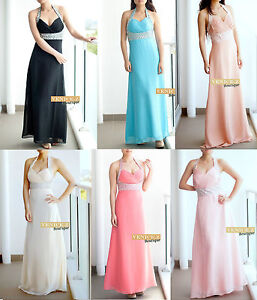 SALE! BNWT Chiffon Halter Neck Formal Dress Evening Gown Amazing beading