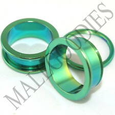 "0542 Green Surgical Steel Screw-on/fit Flesh Tunnels 7/8"" Inch 22mm Ear Plugs"