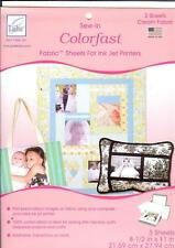 "June Tailor COLORFAST Sew-In Cream Fabric Inkjet Printer 3 Sheets 8.5"" X 11"""