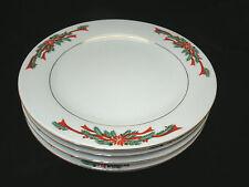 "Tienshan POINSETTIA RIBBON 4-7 5/8 "" Salad Plates Christmas China Dinnerware EC"