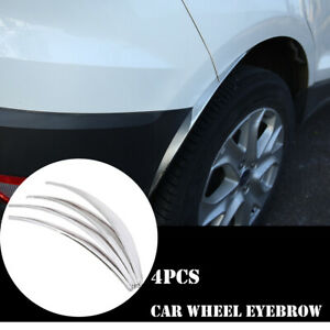 4pcs Chrome Car Wheel Eyebrow Arch Protector Trim Lips Fender Flares Universal