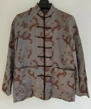 Men's Oriental Dragon Pattern Chinese Inspired Jacket.Grey/Brown. Size Medium.