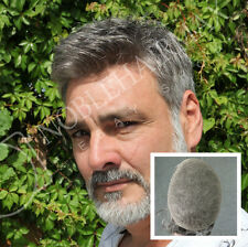 Invisible Hair Replacement System French Lace Toupee Mens Hairpieces #1b65