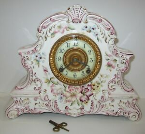 """Antique Ansonia """"Dresden"""" Porcelain Clock 8-Day, Time/Gong Strike, Key-wind"""