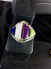 Native American Sugilite , Lapis, Gaspiate Inlay Sterling Silver Ring