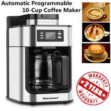 1.25L 10-CUP COFFEE MAKER MACHINE ESPRESSO CAPPUCCINO BEANS GRINDER FILTER TIMER