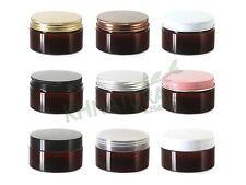 3.5oz 100ml Amber PET Jars w/ Cap Plastic / Metal Screw Lid Empty Cream Cosmetic