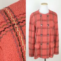 VTG ALNORAL Al Spokavicius Salmon Pink Sweater Jacket L Plaid Knit Checkered