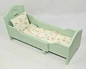 MAILEG Furniture Bed w/ Quilt, Pillow, Mattress for Dolls, Stuffed Animals (BBE)