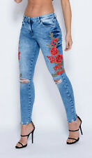 New Womens Ladies Side Floral Embroidered Rip Detail Skinny Jeans Sizes 6-14