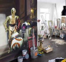 Three droids Star Wars bedroom wall mural in large size FREE delivery + adhesive