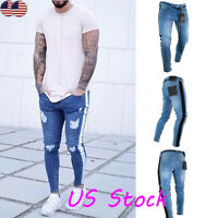 Men's Stretchy Ripped Skinny Biker Jeans Destroyed Frayed Slim Fit Denim Pants G