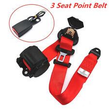 1Set Adjustable Red Retractable Car Seat Belt Lap Belt 3Point Safety Universal
