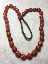 """Vintage Tibet Red & White Opaque Oval Glass """"Skunk"""" Trade Bead Strand"""