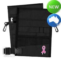 Nursing Pouch-13 Pocket Double Sided, Belt, Embroidery, Nurse -Black Pink Ribbon