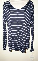 "LIZ CLAIBORNE Women's Long Sleeve V-Neck Top BLUE MOOD ""NAVY MULTI""Striped M NWT"