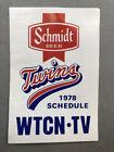 1978 MINNESOTA TWINS Baseball Pocket Schedule SCHMIDT BEER Advertising