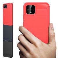 For Google Pixel 2 3 3a 4 4a 5 XL TPU Shockproof Case Brushed Carbon Fiber Cover