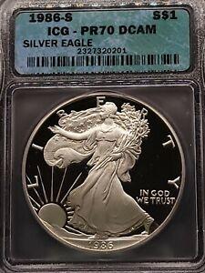 1986-S ICG PR70 DCAM American Silver Eagle S$1 Proof PF 70 - 1oz Silver Dollar